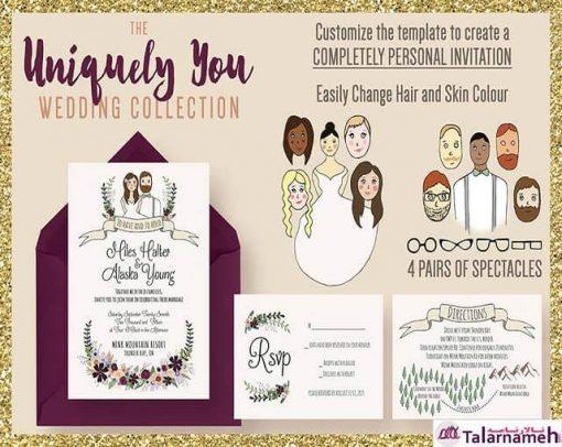 کارت عروس جدید 2017 با وکتورهای عروس و داماد