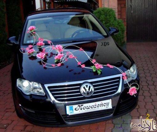 ماشین عروس با گل های کم