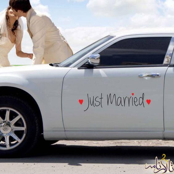 ماشین عروس با تصاویر چسپان
