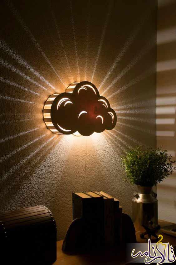 چراغ خواب دیواری چوبی